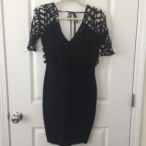 Black Wow Couture Gold Label Lattice Top Dress